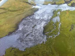 The extent of the flood evident from above. Photo: Kjartan