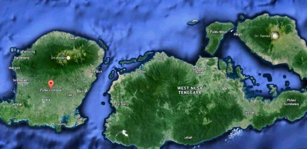 Google maps of Lombok island with Rinjani and Tambora to the east
