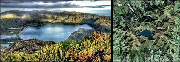 Lagoa do Fogo, in the center of São Miguel island. (© @artista_de_esquina, Twitter) - Right: The ruttet mountain seen from space (Google Earth)