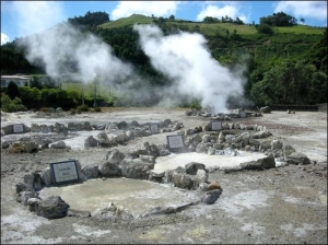 "Boiling pools in the Furnas geothermal area. Name plates remember people who died here from the emanating fumes. (Source: <a href=""http://www.tripadvisor.com/LocationPhotoDirectLink-g189134-d602888-i74174820-Furnas-Sao_Miguel_Azores.html#74174820"">TripAdvisor</a>)"