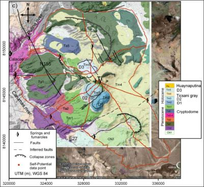 Geological map of Ticsani. (from Byrdina et al., 2013)