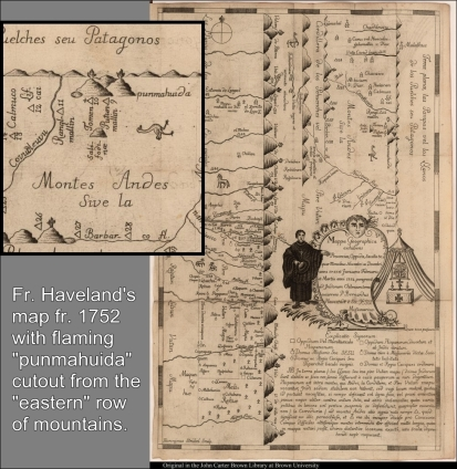 "In his ""Mappa Geographica..."" Fr. Bernhard Havestadt marked all volconaoes he knew or saw to be active with a flame on top. This is the section of his ""map"" where Troman is depicted with a flame. (JCB Archive of Early American Images)"