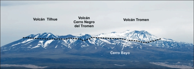 View of the Tromen massif from the east. The Tromen volcano is the youngest and last lavas are of Holocene age. The rhyolite domes of Cerro Bayo are possible remnants of Tilhue volcano, partially covered by the Tromen lavas, suggesting that the Tilhue was a larger volcano than what is seen today. The black dashed line indicates approx. the height of the sedimentary rocks of the Neuquén Basin. (© Llambias et al., 2011)